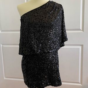 Asymmetric black sequin Jessica Simpson dress